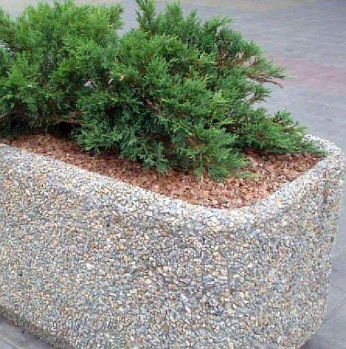 технология мытый бетон - вазон