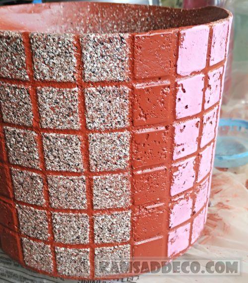 прорисовка швов на бетонном горшке