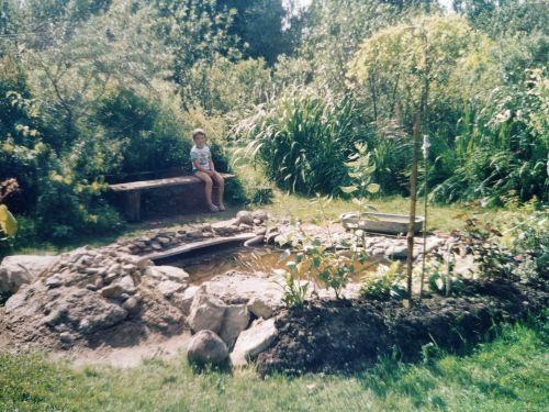 Сделан пруд в саду