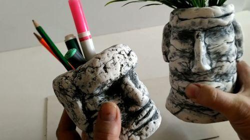 2 головы из самодельной полимерной глины