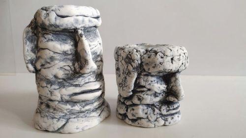 2 головы из самой дешевой самодельной полимерной глины