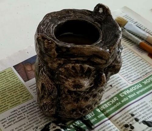 окраска вазы-совы